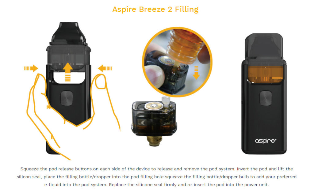 Aspire Breeze 2 Kit refilling liquid