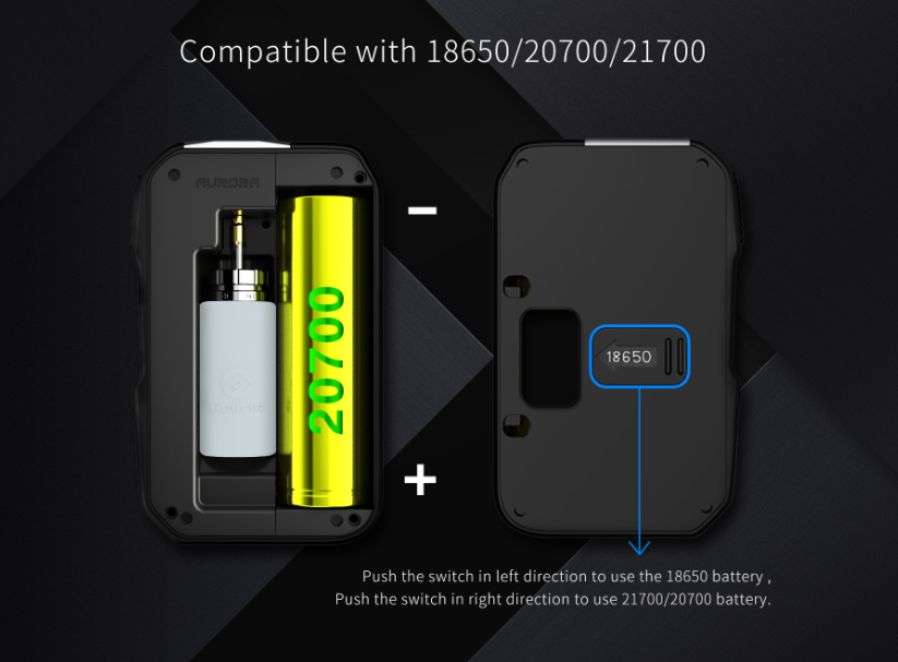 Hcigar Aurora Squonk mod is compatible with 18650 20700 21700 batteries