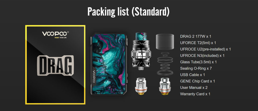Drag 2 kit package content