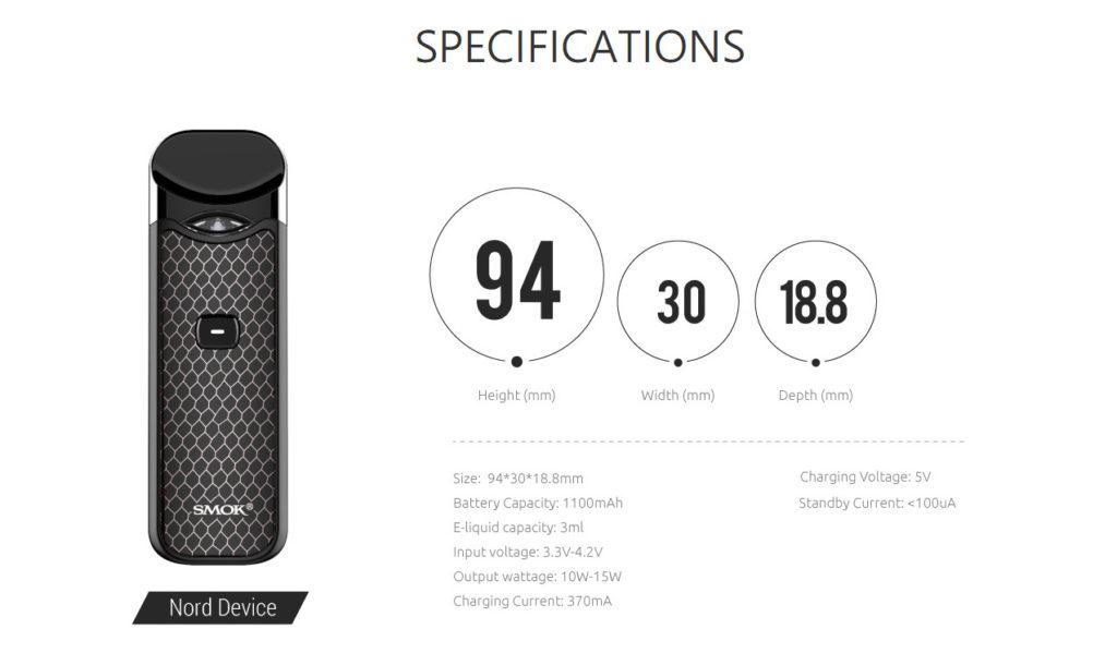 SMOK Nord Pod Kit Specifications
